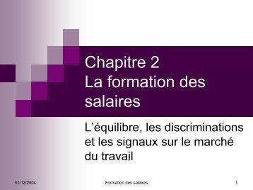 Chapitre 2 La formation des salaires