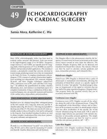 ECHOCARDIOGRAPHY IN CARDIAC SURGERY - TSDA