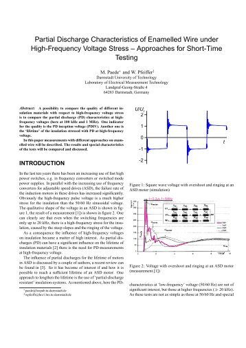 Partial Discharge Characteristics of Enamelled Wire under High ...