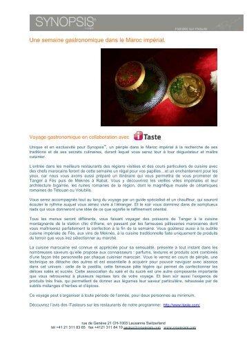Le Tour du Maroc gastronomique avec iTaste - Synopsism