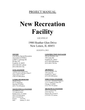 New Recreation Facility - Bid Room FTP Site for General Contractors