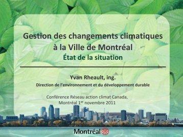Gestion des changements climatiques à la Ville de Montréal