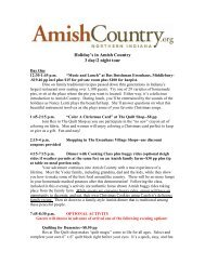 Holiday's in Amish Country 3 day/2 night tour