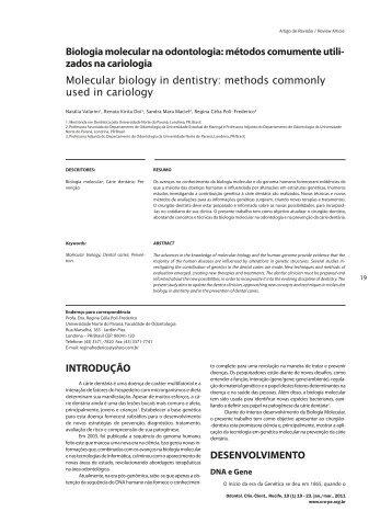 Biologia molecular na odontologia: métodos ... - Rev@Odonto