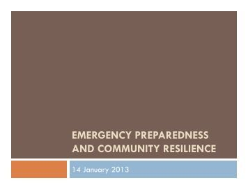 community emergency preparedness Earn a certificate in emergency management tailored to today's needs in preparedness & security is this program for you the coastline.