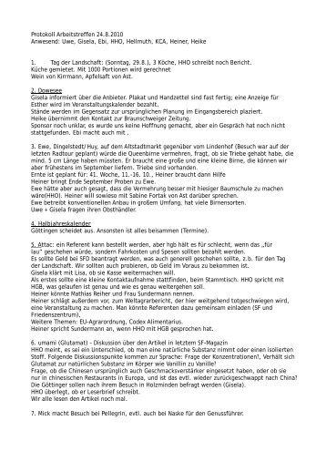 Protokoll Arbeitstreffen 24.8.2010 Anwesend: Uwe, Gisela, Ebi, HHO ...