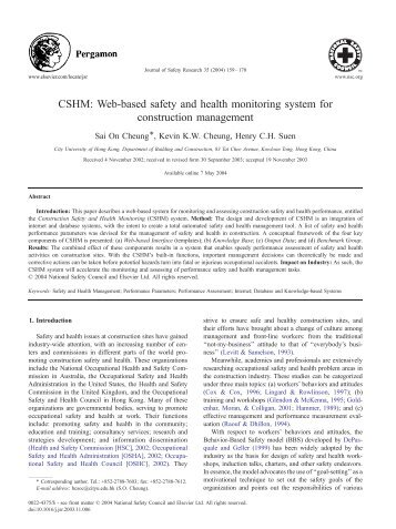 CSHM: Web-based safety and health monitoring system for ...