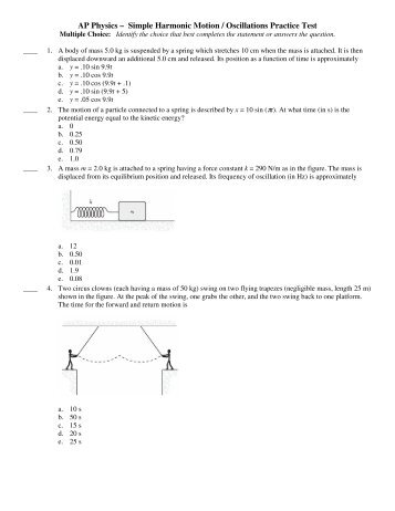 AP Physics – Simple Harmonic Motion / Oscillations Practice Test