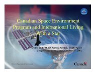 Canadian Space Environment Program and International Living ...