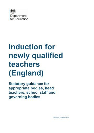 Induction for newly qualified teachers (England) - Statutory guidance ...