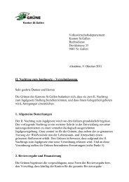 II. Nachtrag zum Jagdgesetz - Grüne Kanton St. Gallen