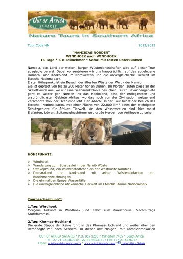 """KREUZ DES SÜDENS"" - Out of Africa Safaris"