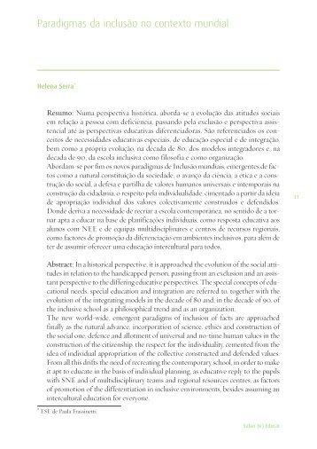 Paradigmas da inclusão no contexto mundial - Repositório ...