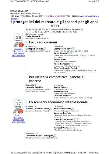 I protagonisti del mercato e gli scenari per gli anni ... - Andrea Granelli
