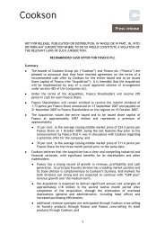 11 Oct 2007 Recommended Cash Offer for Foseco plc ... - Cookson