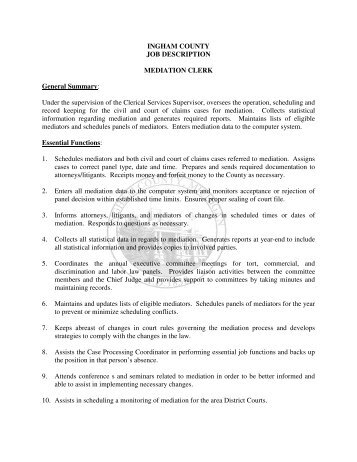 Job Description For File Clerk Job Performance Evaluation Ingham County Job  Description Mediation Clerk