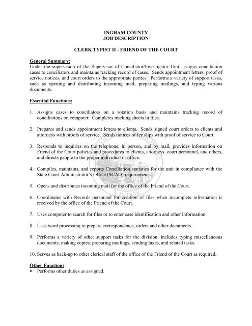 INGHAM COUNTY JOB DESCRIPTION CLERK TYPIST II - FRIEND