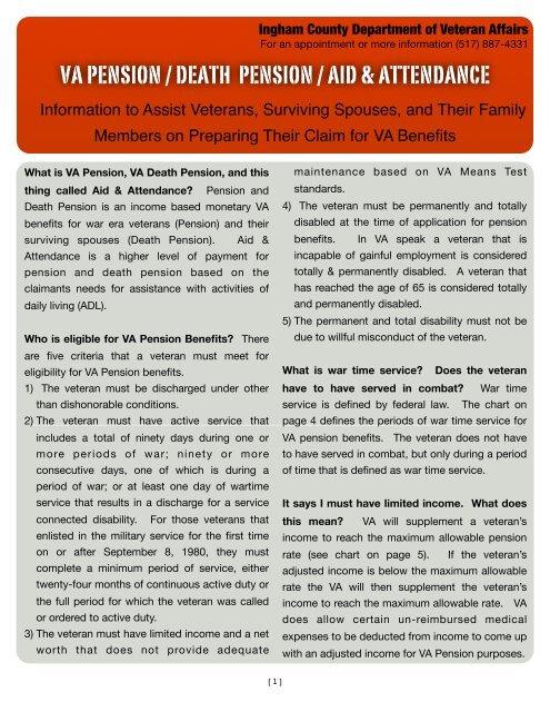 va pension / death pension / aid & attendance - Veterans Affairs