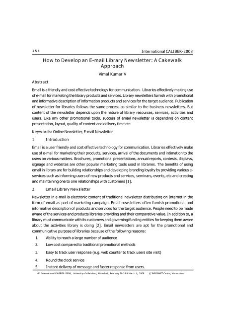 How to Develop an E-mail Library Newsletter: A Cakewalk Approach