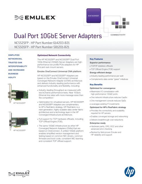 Dual Port 10GbE Server Adapters - Emulex