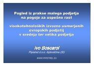 Prezentacija podjetnika Iva Boscarola, lastnika in direktorja podjetja ...