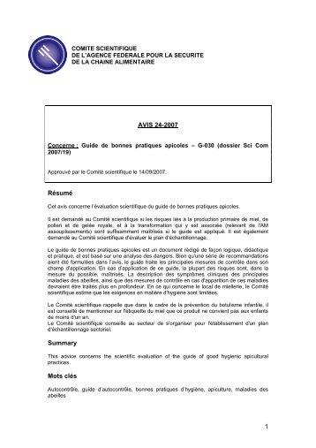 Avis 24-2007 du Comité scientifique de l'AFSCA