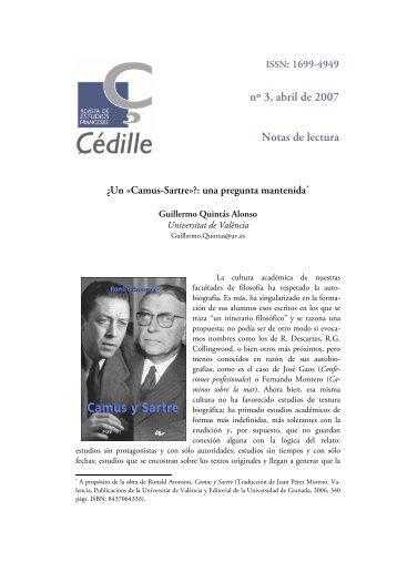 Camus-Sartre»?: una pregunta mantenida - Çédille. Revista de ...
