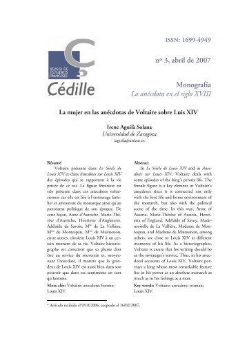 referencias a la mujer en las ancdotas de voltaire - Çédille. Revista ...