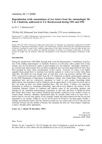 Reproduction (with annotations) of two letters from the ... - Calodema