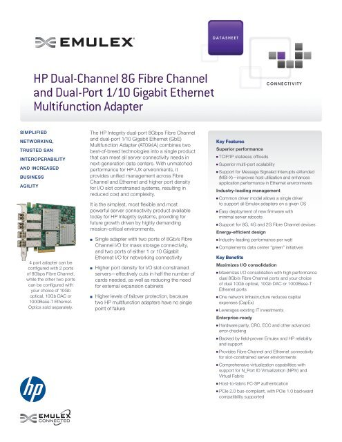 HP AT094A 8GFC & 1/10GbE Multifunction adapter - Emulex