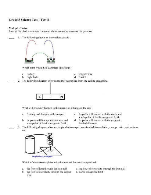 Grade 5 Science Test-- Test B - Curriculum