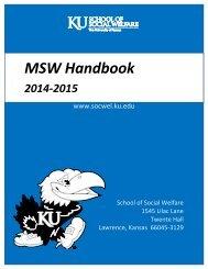 MSW Student Handbook - School of Social Welfare - University of ...