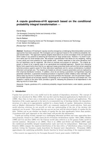 A copula goodness-of-fit approach based on the ... - danielberg.no