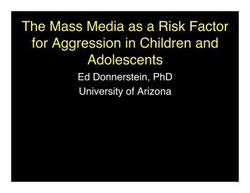 childhood aggression risk factors Association (apa) considers violent video games a risk factor for aggression,  but  childhood exposure to media violence and adult aggression and violence.