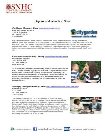 Daycare and Schools in Shaw - Shaw Neighborhood Housing Corp