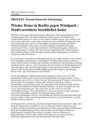 Wieder Demo in Beelitz gegen Windpark, Märkische Allgemeine ...