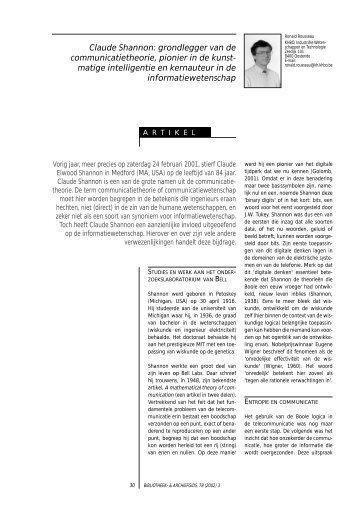 Claude Shannon: grondlegger van de ... - VVBAD