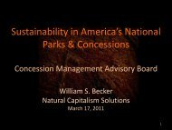 Sustainability in America's National Parks & Concessions