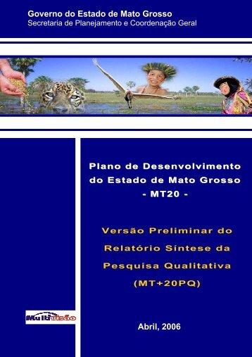 Governo do Estado de Mato Grosso Abril, 2006 - seplan / mt