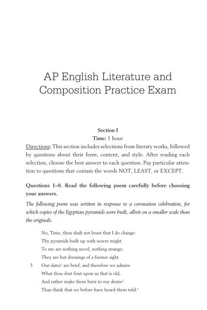 AP English Literature and Composition Practice Exam