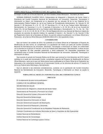 Norma Oficial Mexicana NOM-168-SSA1-1998, del expediente clínico.