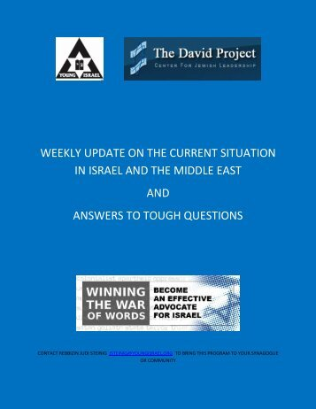 weekly update on the current situation in israel and the middle east ...