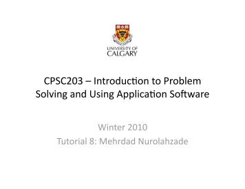 Introduc8on to Problem Solving and Using Applica8on Software