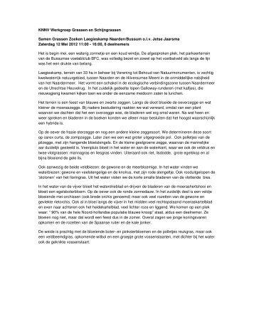 KNNV Werkgroep Grassen en Schijngrassen Samen Grassen ...