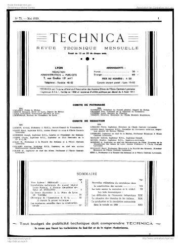 Revue Technica, année 1939, numéro 75 - Histoire de l'École ...