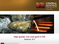6 September 2013 - High grade, low cost gold in WA - General Mining