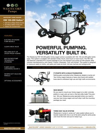 POWERFUL PUMPING. VERSATILITY BUILT IN. - Wastecorp Pumps