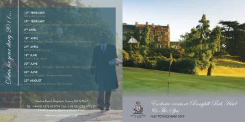 D ates for your diary 2011… - Pennyhill Park Hotel