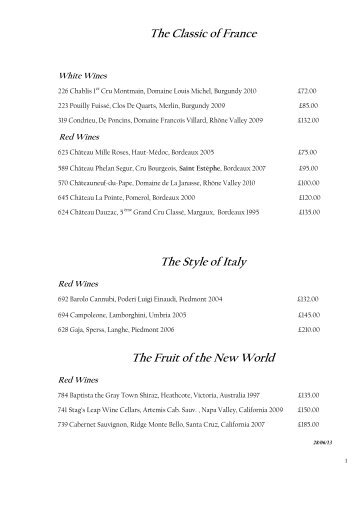 View our full wine list - Pennyhill Park Hotel
