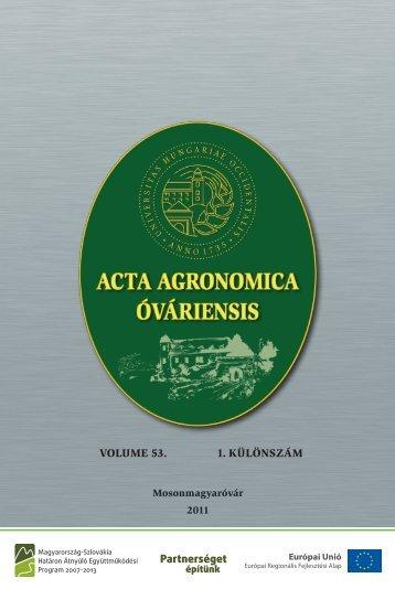 teljes anyag - Nyugat-Magyarországi Egyetem Mezőgazdaság